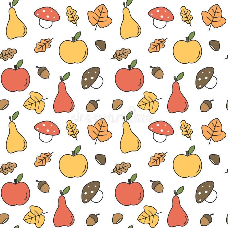 Ilustração sem emenda do fundo do teste padrão do vetor da queda colorida bonito do outono com peras, maçãs, folhas, bolotas, cas ilustração stock