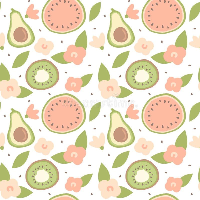 Ilustração sem emenda do fundo do teste padrão do vetor do verão bonito bonito dos desenhos animados com o abacate, a melancia, o ilustração stock