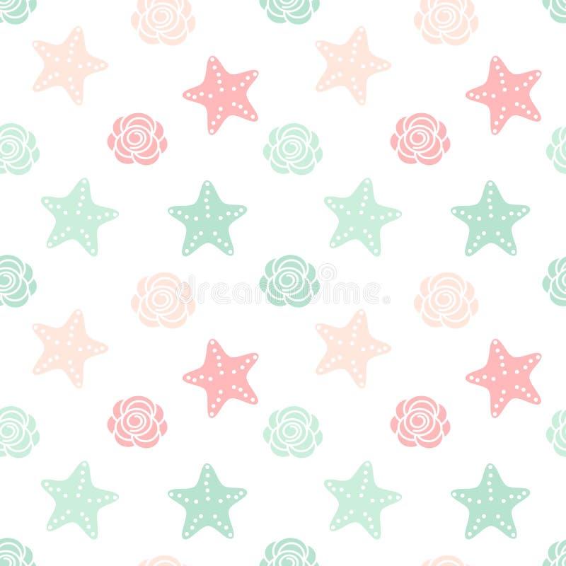 Ilustração sem emenda do fundo do teste padrão do vetor do verão colorido bonito com estrelas do mar e rosas ilustração royalty free