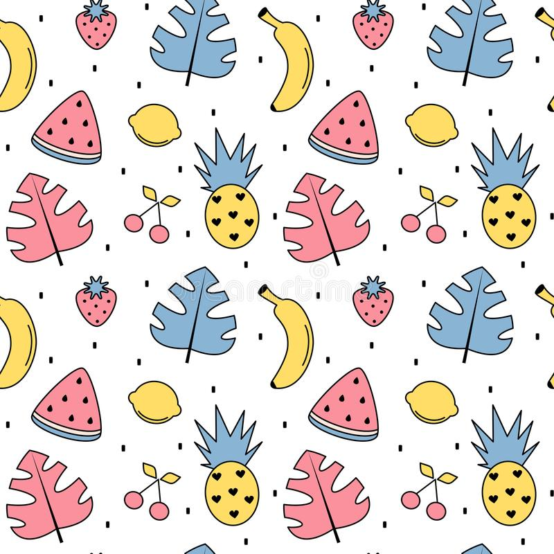 Ilustração sem emenda do fundo do teste padrão do vetor do verão colorido bonito com folhas exóticas, bananas, abacaxis, limões,  ilustração do vetor