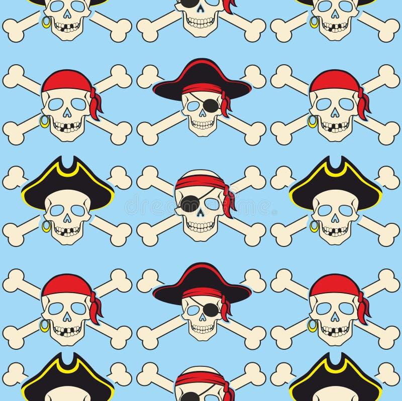 Ilustração sem emenda do fundo do vetor o modelo pirateia acessórios e atributos do crânio ilustração stock