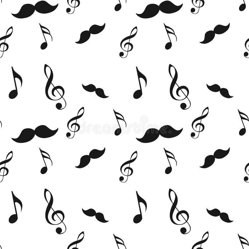 A ilustração sem emenda do moderno ajustou-se com nota da música do bigode e curvou-se o teste padrão cru do fundo da textura da  ilustração stock