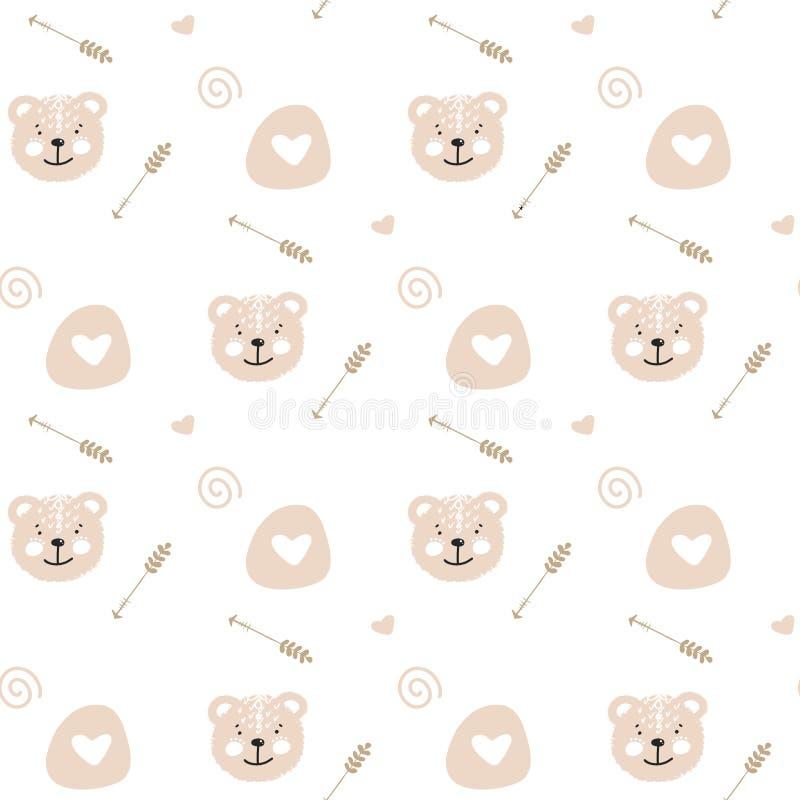 Ilustração sem emenda do teste padrão da garatuja bonito dos desenhos animados com o urso macio bonito Textura infinita com fundo ilustração stock