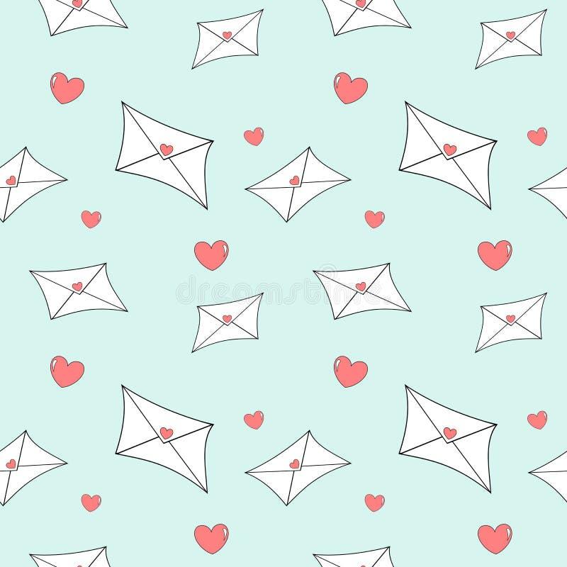 Ilustração sem emenda do teste padrão da letra bonito do correio do amor dos desenhos animados ilustração do vetor