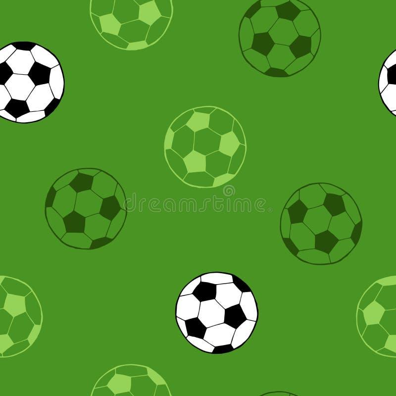 Ilustração sem emenda do teste padrão do fundo do verde da arte gráfica da bola do esporte do futebol do futebol ilustração stock