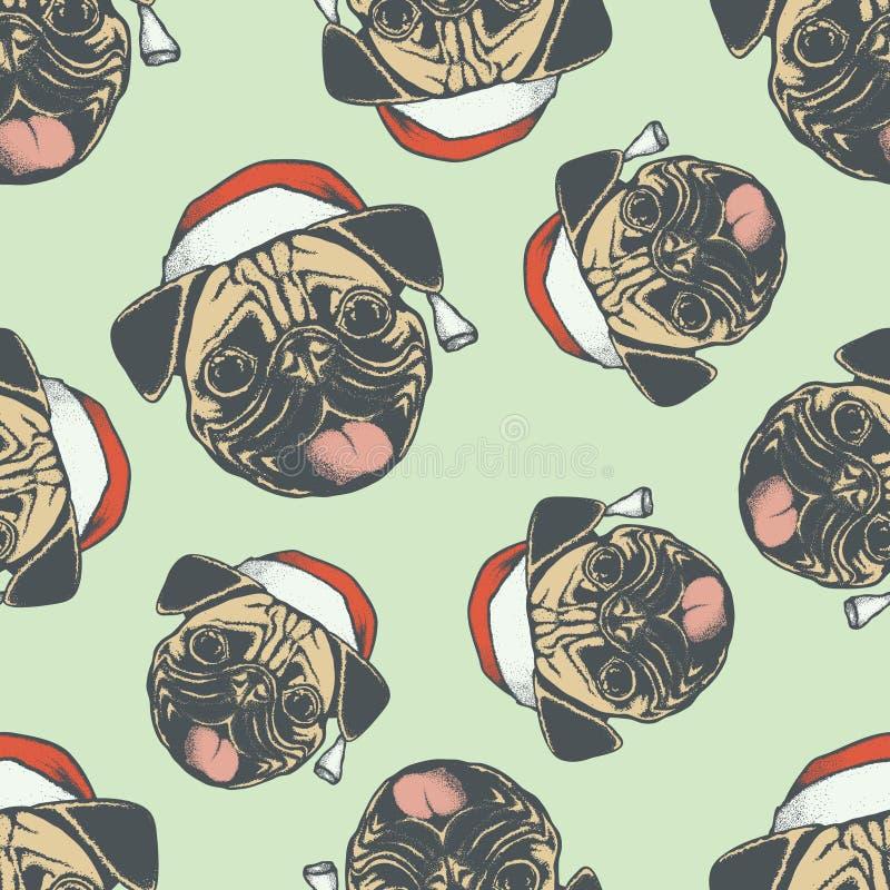 Ilustração sem emenda do teste padrão do vetor do cão do Pug do Natal ilustração royalty free