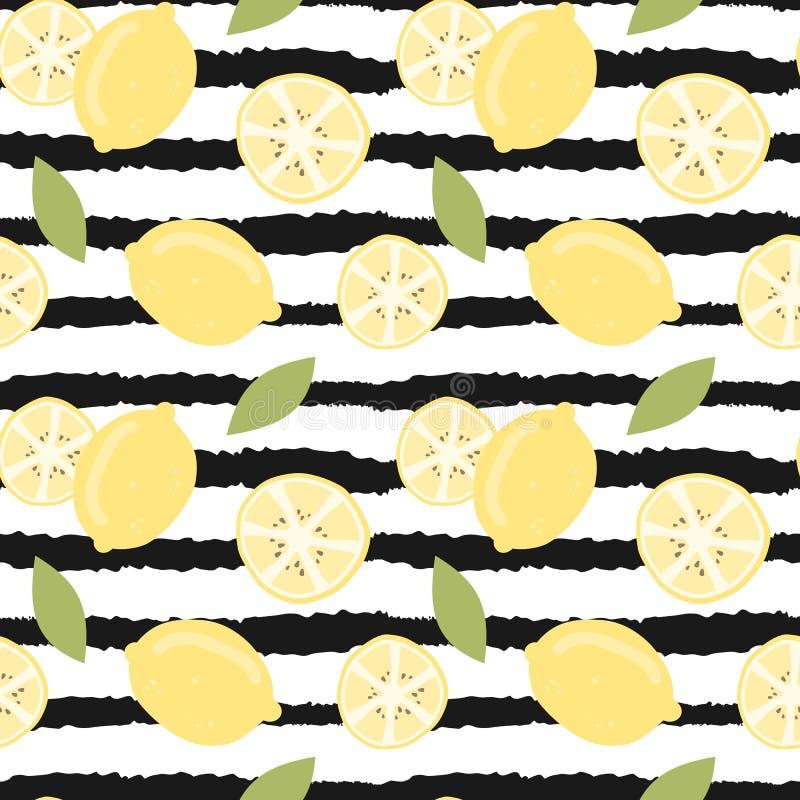 Ilustração sem emenda do teste padrão do vetor do verão moderno bonito bonito com o limão tirado mão no fundo listrado preto e br ilustração stock