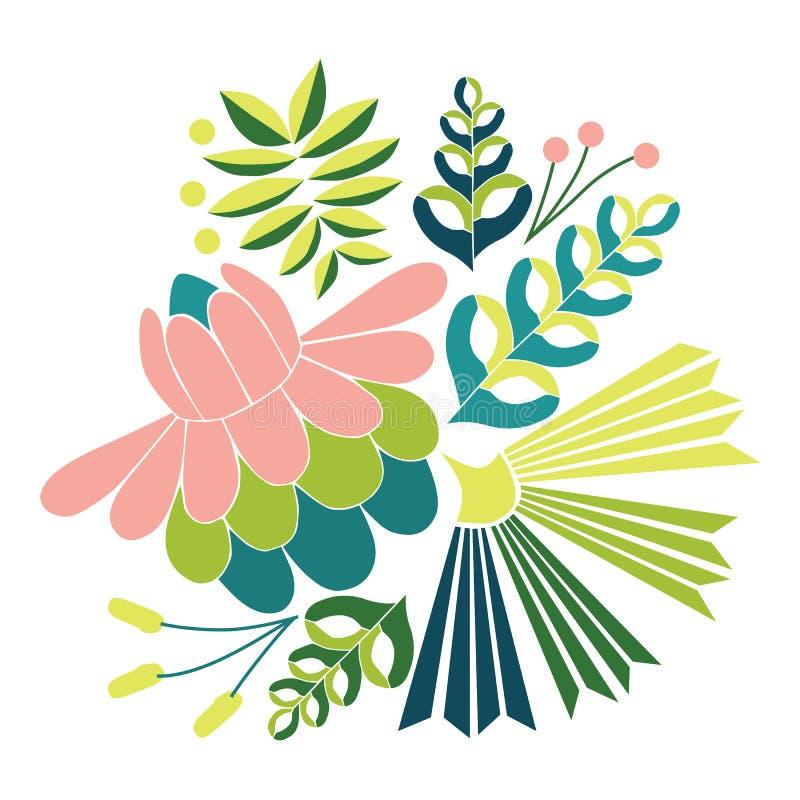 Ilustração sem emenda do vetor do bordado com as flores tropicais bonitas Ornamento floral popular do vetor brilhante no fundo br ilustração stock