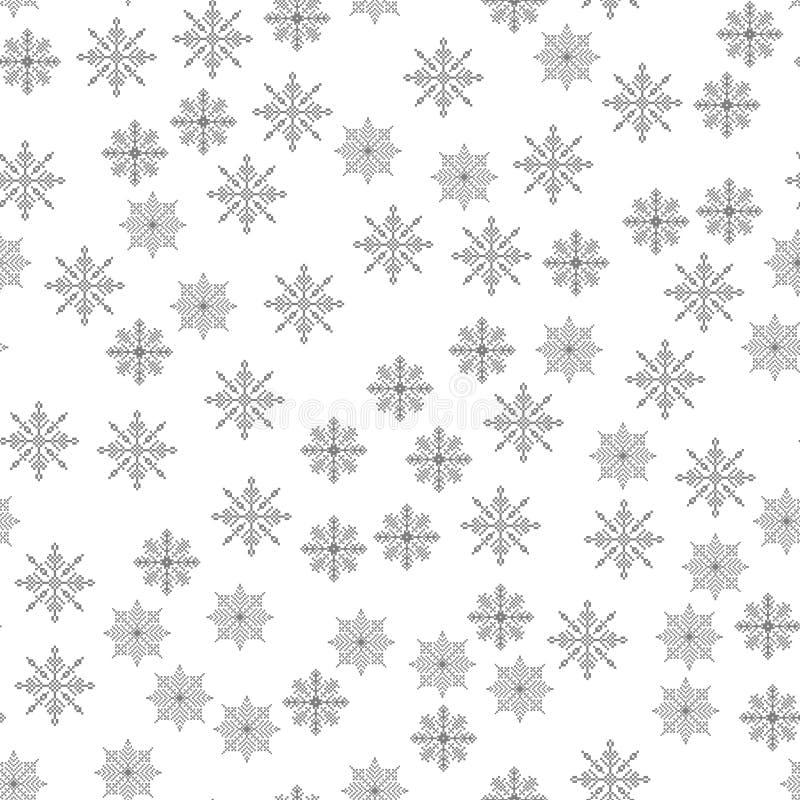 Ilustração sem emenda do vetor do fundo do Natal da luz do teste padrão do floco de neve o tema do inverno, ano novo, feriado ilustração stock