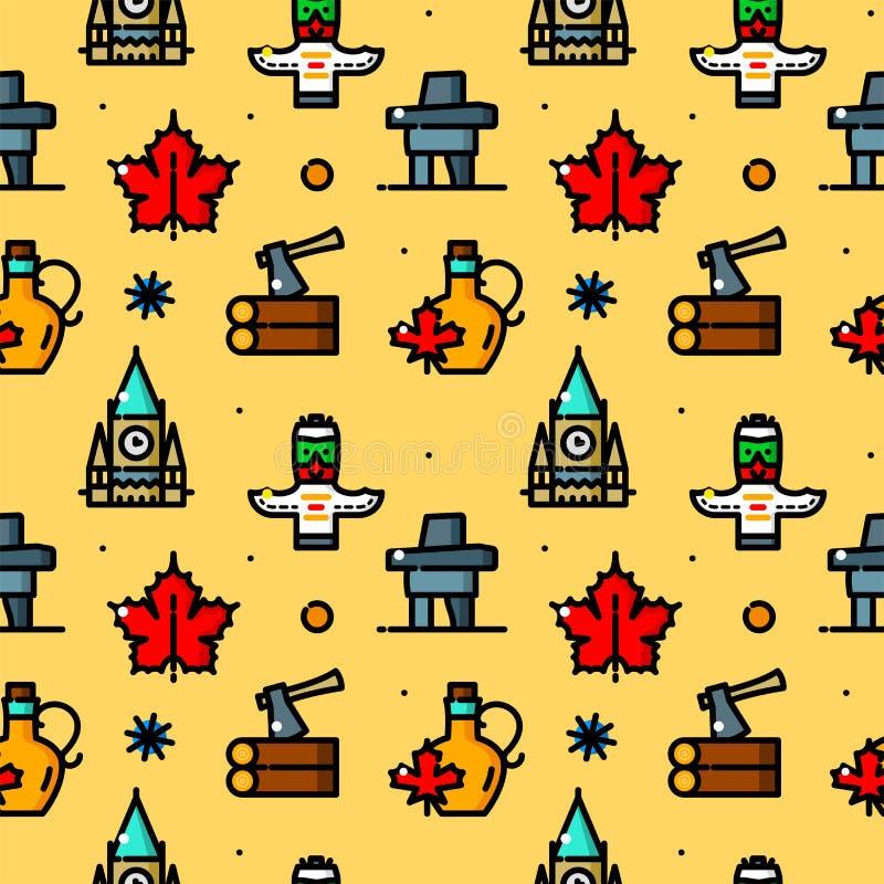 Ilustração sem emenda do vetor do teste padrão de Canadá ilustração royalty free