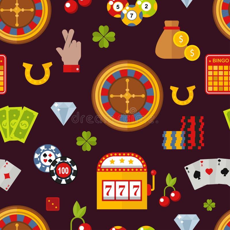 Ilustração sem emenda do vetor do teste padrão dos símbolos do jogador do pôquer do jogo do casino ilustração royalty free
