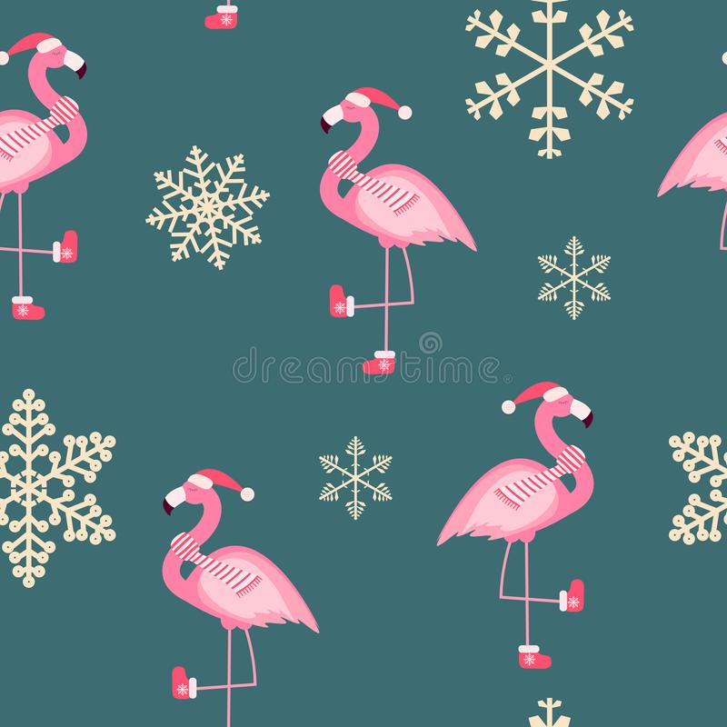 Ilustração sem emenda do vetor do fundo do ano novo do flamingo cor-de-rosa bonito e do teste padrão do Natal ilustração stock