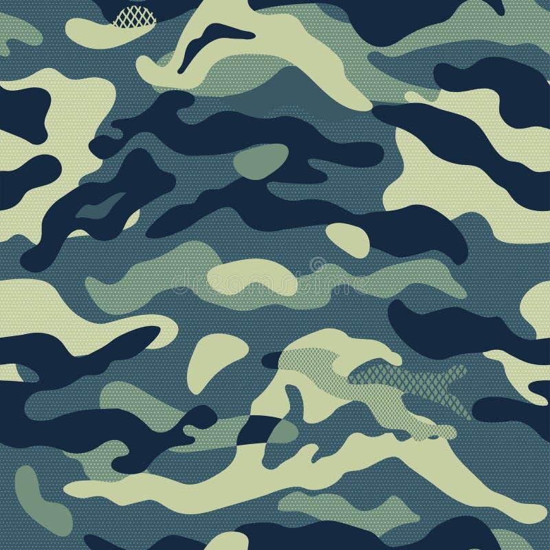 Ilustração sem emenda do vetor do fundo do teste padrão da camuflagem Cópia clássica da repetição do mascaramento do estilo da ro ilustração royalty free