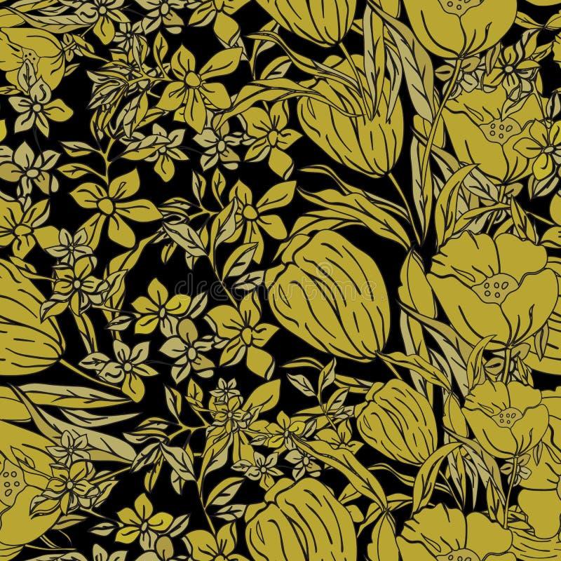 A ilustração sem emenda do vetor do ouro mergulhou papoilas, tulipas, flores dispersadas e folhas ilustração stock