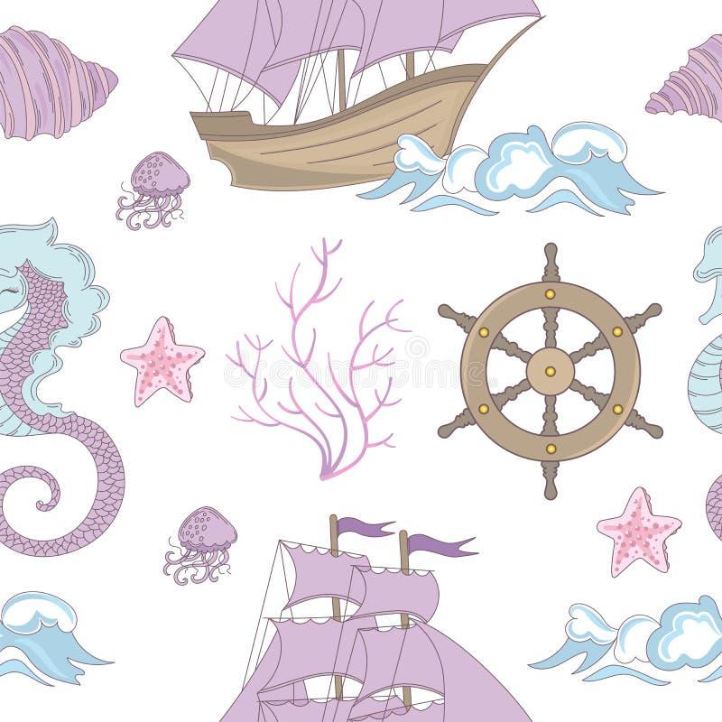Ilustração sem emenda do vetor do teste padrão do cruzeiro IDEAL do oceano do NAVIO ilustração royalty free