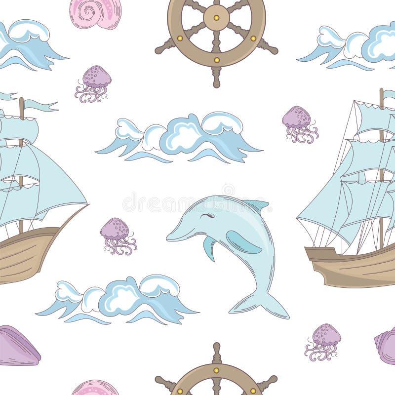 Ilustração sem emenda do vetor do teste padrão do curso do oceano do CONTO do CRUZEIRO ilustração do vetor