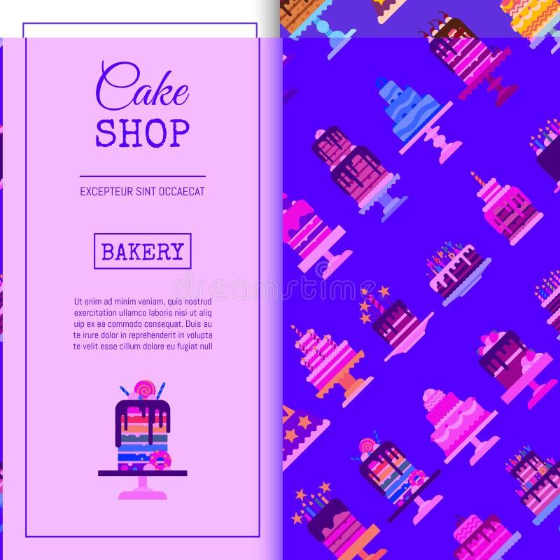 Ilustração sem emenda do vetor do teste padrão da loja do bolo Chocolate e sobremesas frutados para a loja doce do bolo com quequ ilustração do vetor
