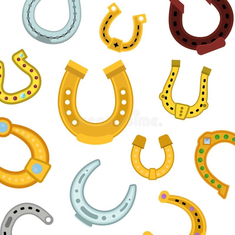 Ilustração sem emenda do vetor do teste padrão das ferraduras Ícones da ferradura velha e nova do vintage para o esporte equestre ilustração stock