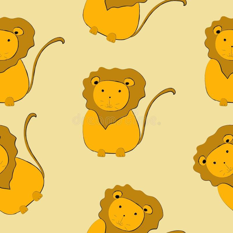 Ilustração sem emenda do vetor do teste padrão dos leões bonitos ilustração royalty free