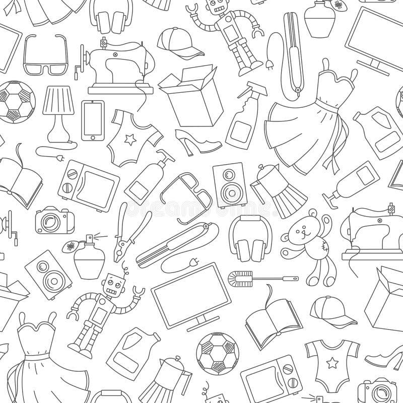 Ilustração sem emenda em uma variedade de produtos e compra, ícones simples da compra, contornos escuros em um fundo branco ilustração stock