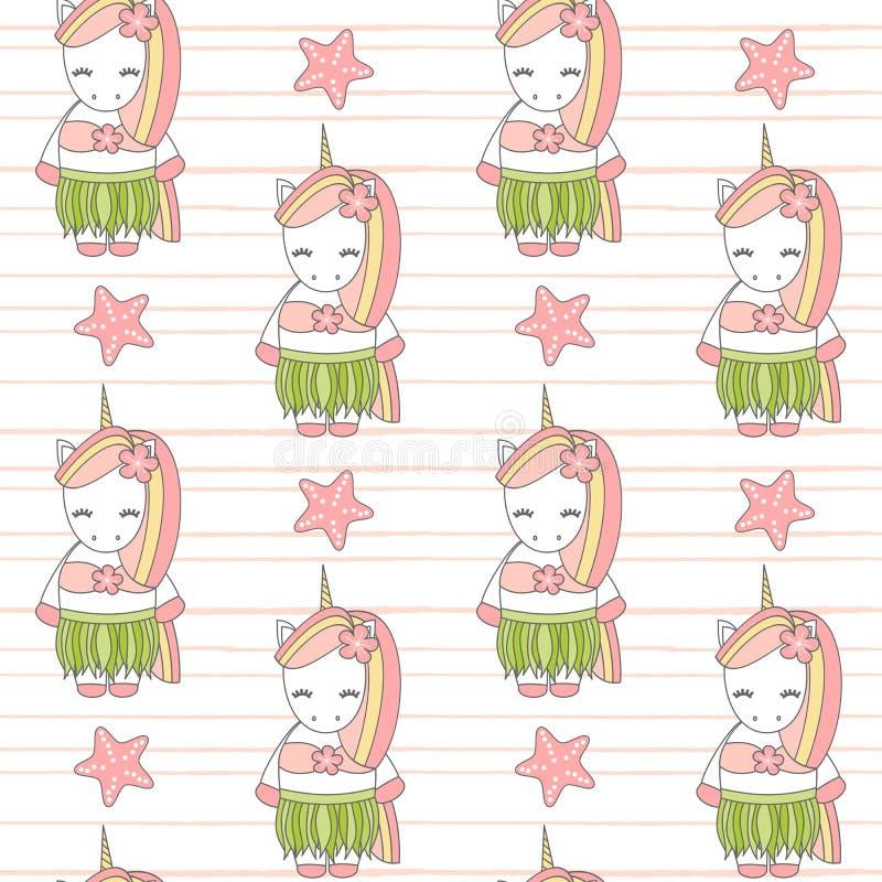 Ilustração sem emenda engraçada do fundo do teste padrão do vetor do unicórnio havaiano bonito bonito dos desenhos animados do ve ilustração stock