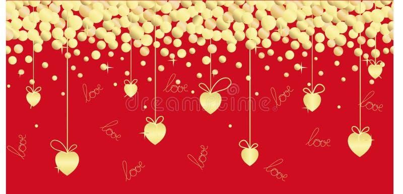 Ilustração sem emenda festiva com corações dourados, fitas, rotulação da mão em um fundo vermelho ilustração stock