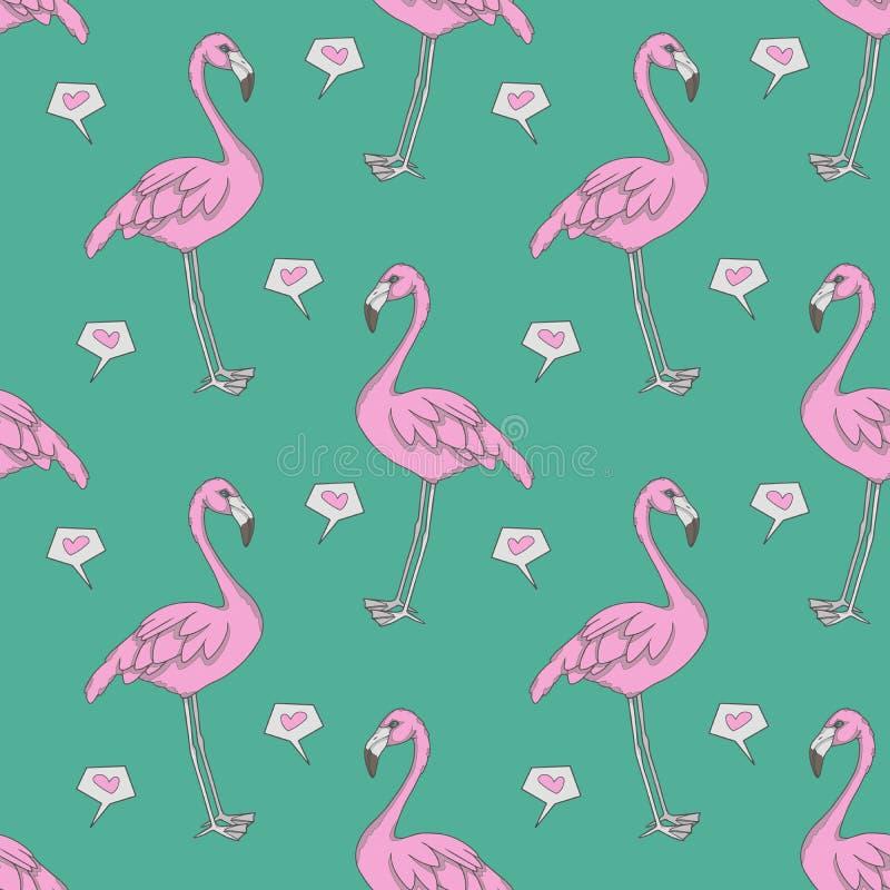 Ilustração sem emenda gráfica do teste padrão do omputer do flamingo com os pássaros e corações exóticos cor-de-rosa no fundo da  ilustração royalty free