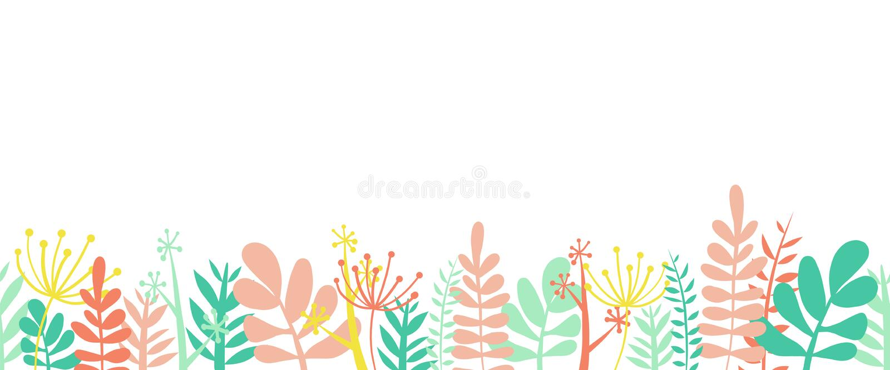 Ilustração sem emenda horizontal do vetor da parte inferior do quadro da beira do verão das folhas As flores, as folhas e as hast ilustração do vetor