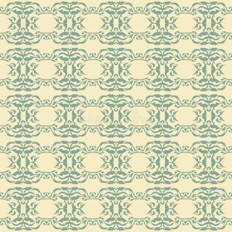 Ilustração sem emenda lindo do vintage do teste padrão dos retalhos da coleção do ornamento do assoalho de telhas do azul de índi ilustração stock