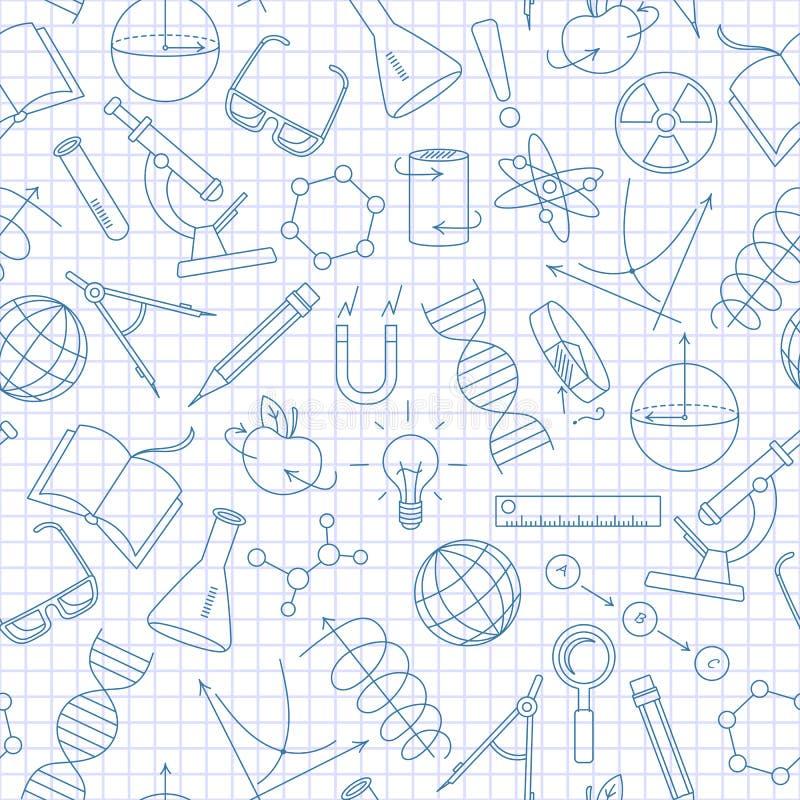 Ilustração sem emenda no tema da ciência e as invenções, os diagramas, as cartas, e o equipamento, ícones simples de um contorno, ilustração stock