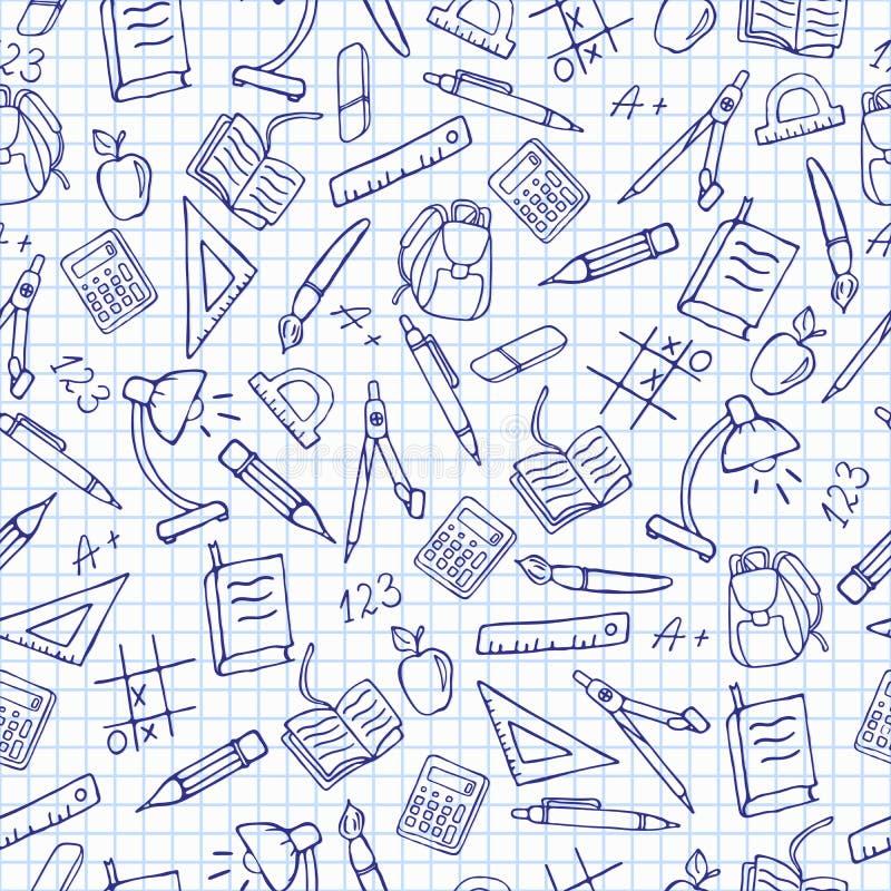 Ilustração sem emenda no tema da escola, ícones desenhados à mão no fundo na gaiola ilustração do vetor