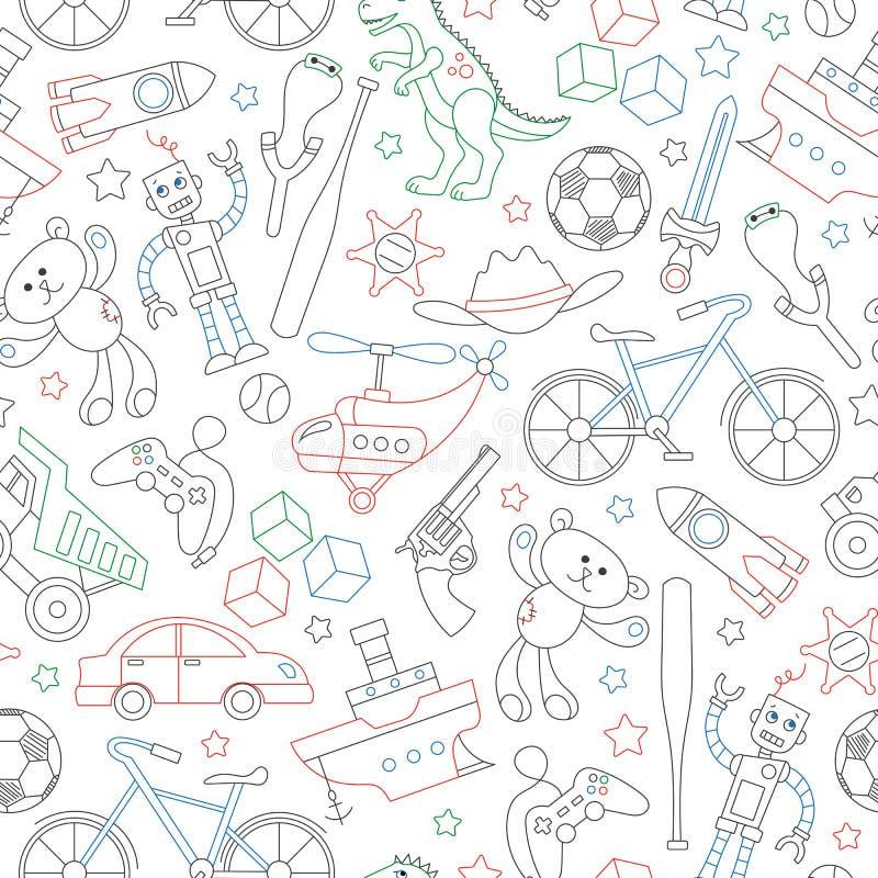 A ilustração sem emenda no tema da infância e dos brinquedos, brinquedos para meninos, coloriu ícones dos esboços no fundo branco ilustração stock
