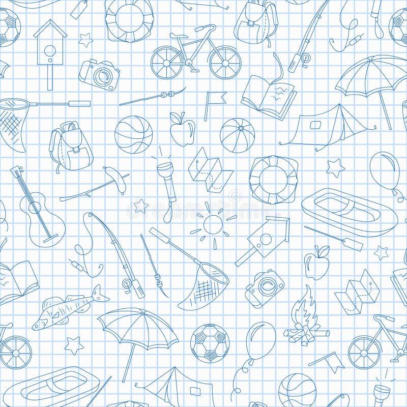 Ilustração sem emenda no tema do acampamento de verão e férias, ícones simples do contorno, ícones azuis do contorno na escrita-b ilustração do vetor