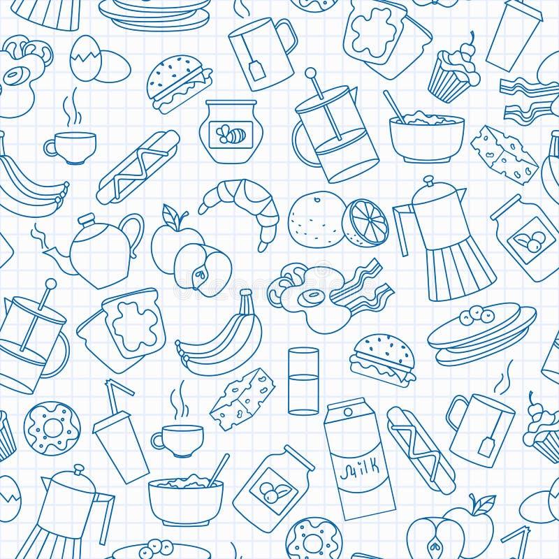 Ilustração sem emenda no tema do alimento e do café da manhã, ícones simples do contorno, ícones azuis do contorno na folha limpa ilustração do vetor