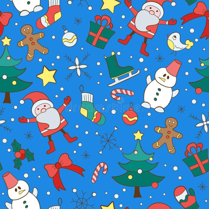 Ilustração sem emenda no tema do ano novo e do Natal, ícones desenhados à mão simples pintados em um fundo azul ilustração stock