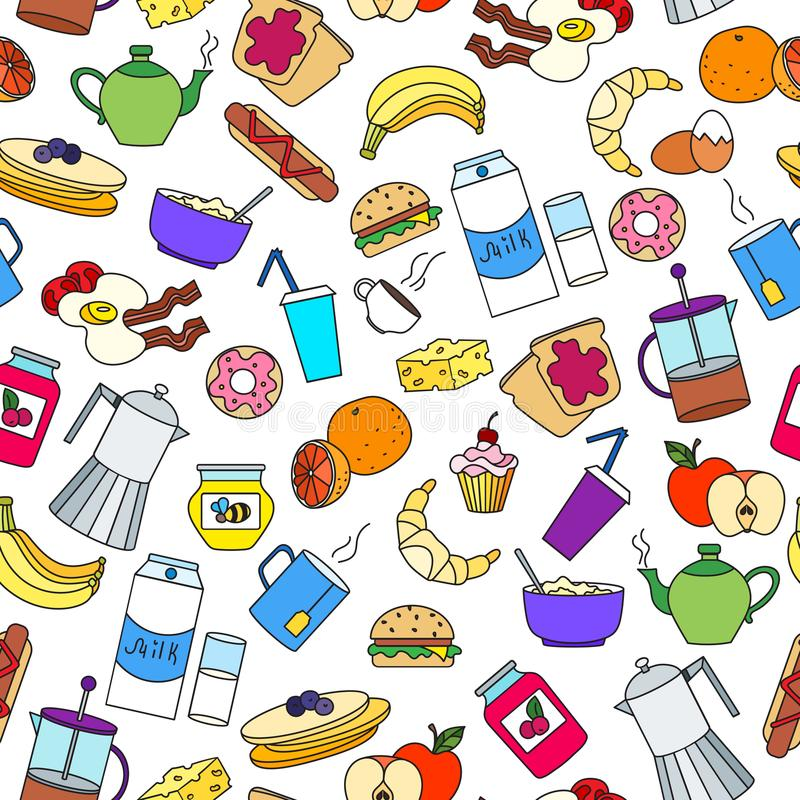 Ilustração sem emenda no tema do café da manhã e do alimento, ícones simples da cor no fundo branco ilustração do vetor