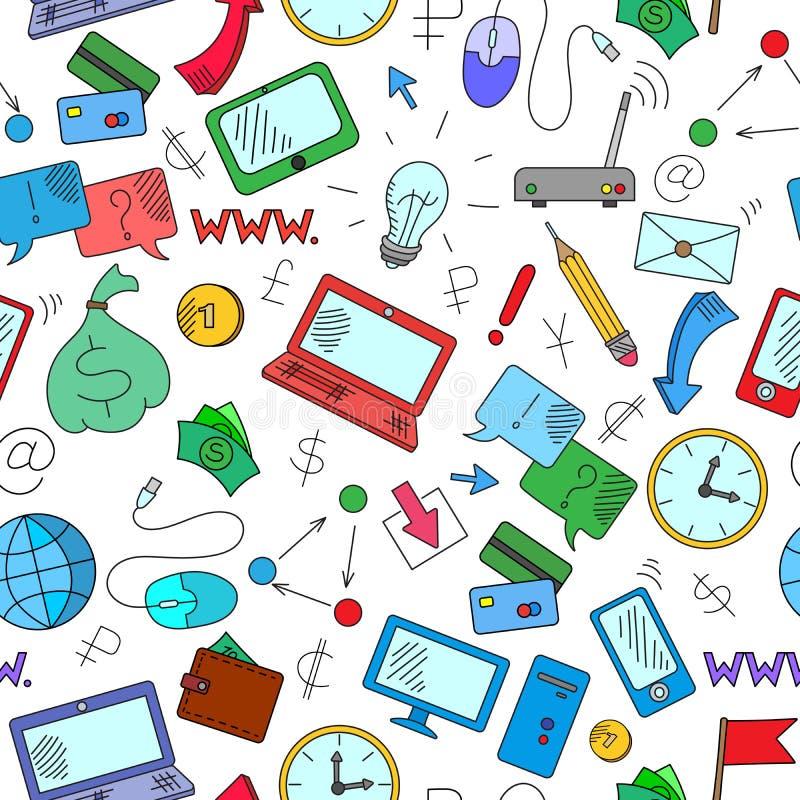 Ilustração sem emenda no tema do salário e das tecnologias da informação ilustração do vetor