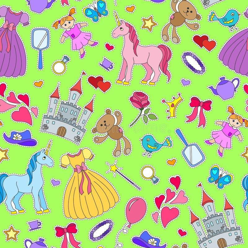 Ilustração sem emenda no tema dos bebês dos passatempos e dos brinquedos, ícones do remendo no fundo verde ilustração royalty free