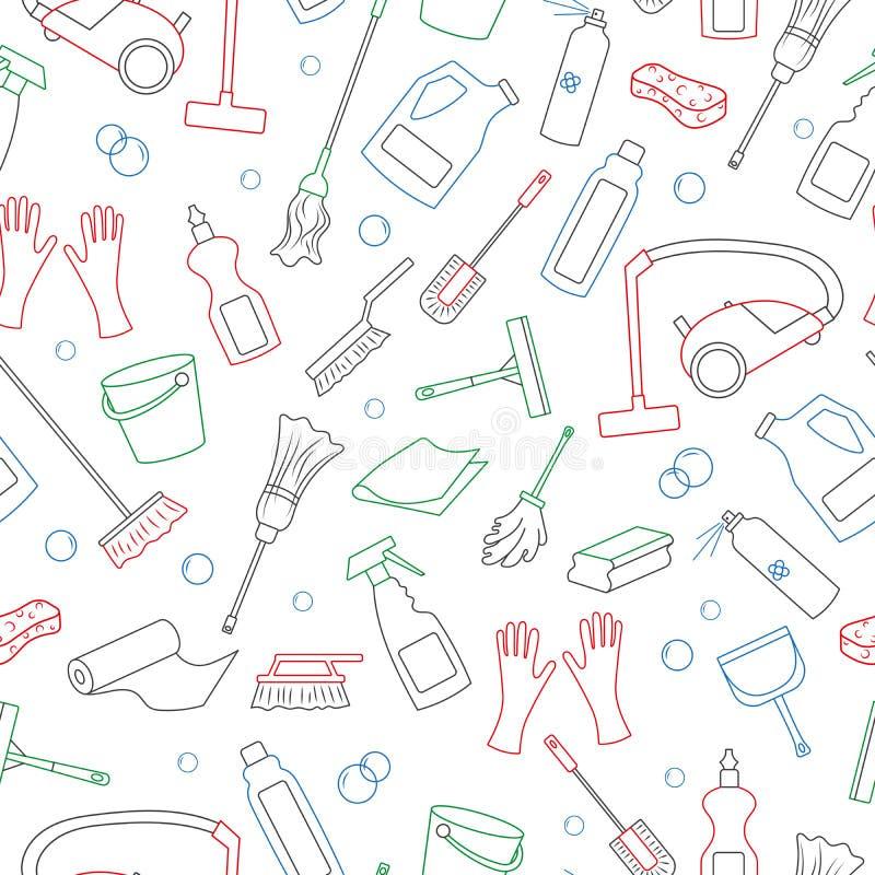 Ilustração sem emenda no tema dos produtos da limpeza e do equipamento e de limpeza da família, ícones coloridos simples do conto ilustração stock