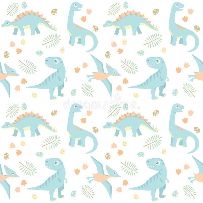 Ilustração sem emenda pré-histórica pequena do vetor do teste padrão de quatro cores de luz do dinossauro do bebê azul ilustração stock