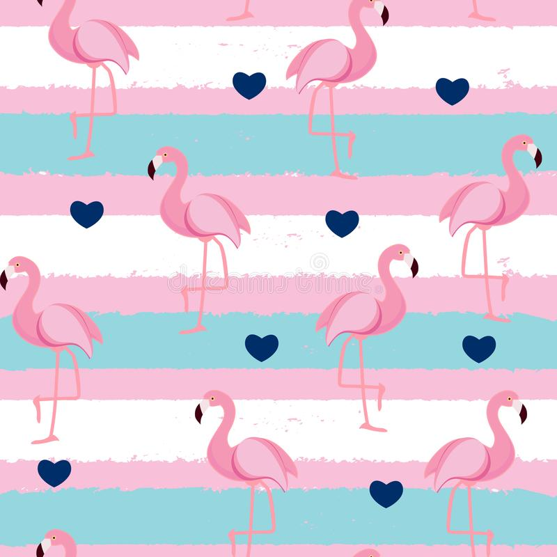 Ilustração sem emenda retro bonito do vetor do fundo do teste padrão do flamingo ilustração do vetor