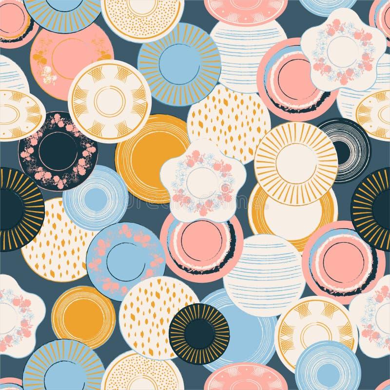 Ilustração sem emenda tirada do vetor do teste padrão dos pratos de porcelana da escova do patel mão gráfica colorida Projeto par ilustração stock