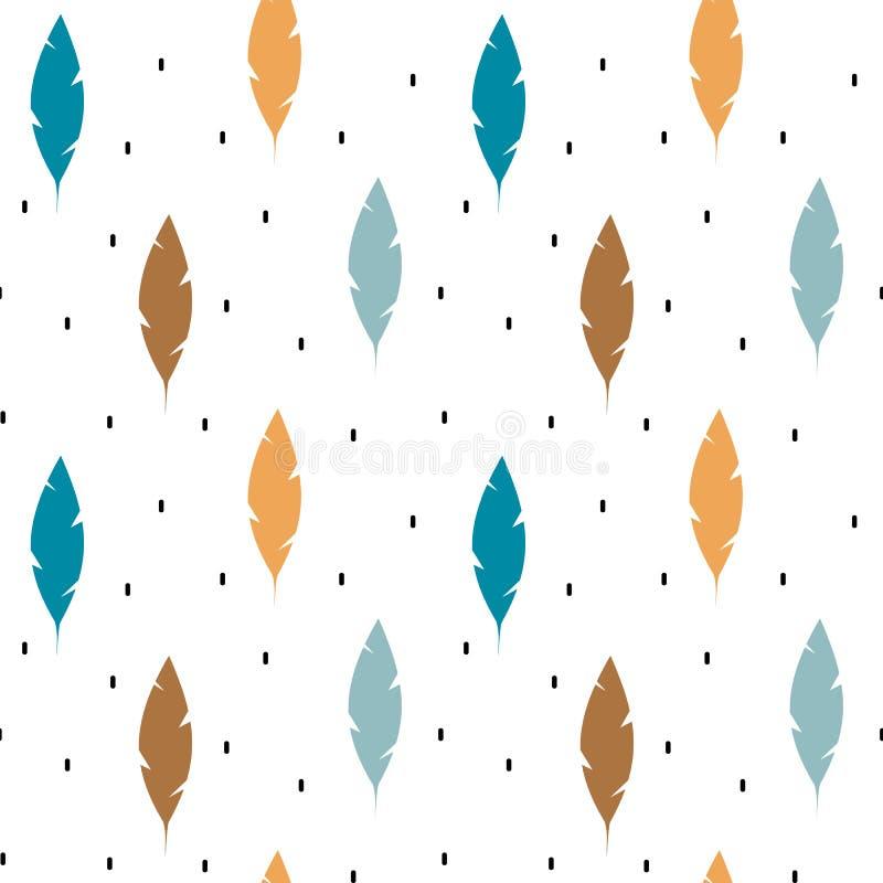 Ilustração sem emenda tribal étnica do fundo do teste padrão do vetor das penas coloridas bonitos ilustração royalty free