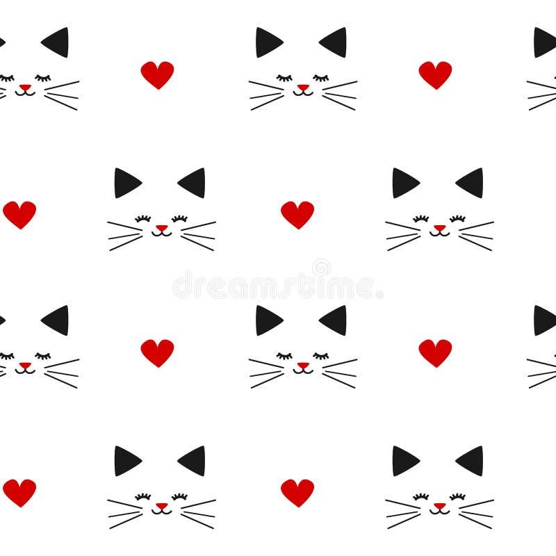 Ilustração sem emenda vermelha branca preta bonita bonito do fundo do teste padrão com gatos e corações ilustração stock