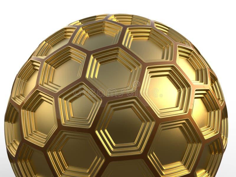 Ilustração sextavada dourada da esfera 3D ilustração do vetor