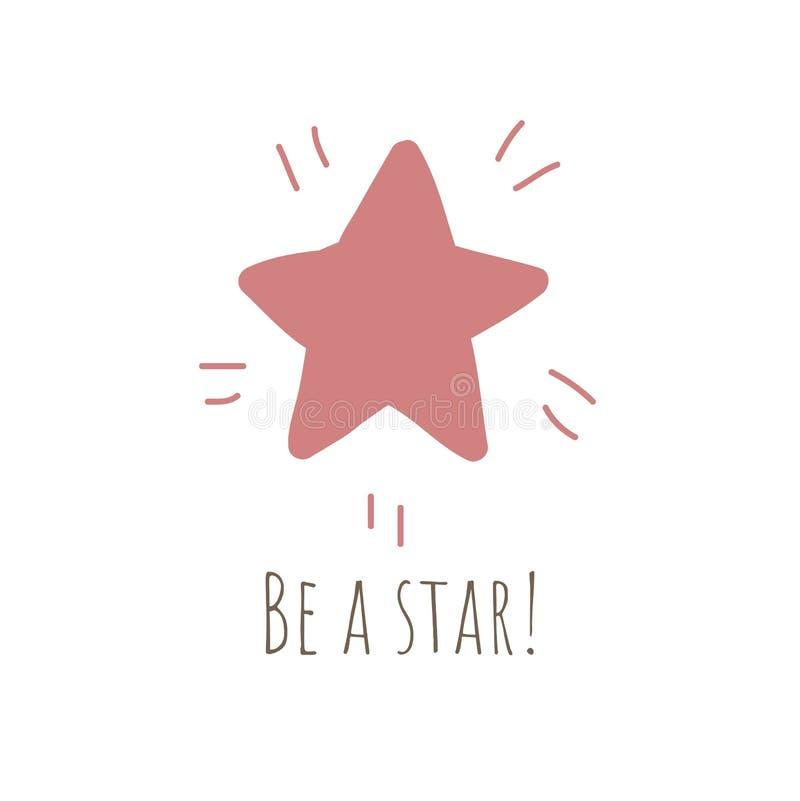 Ilustração simples com a estrela vermelha brilhante ilustração do vetor