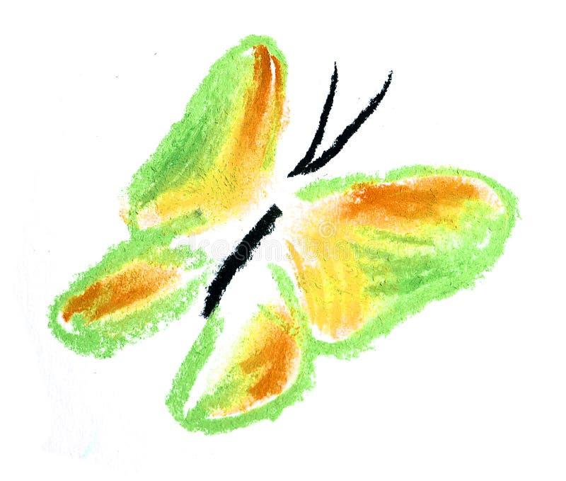 Ilustração Simples Da Borboleta Verde E Amarela Imagem de Stock Royalty Free