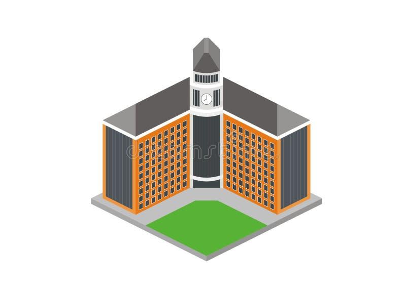 Ilustração simples da construção principal de escola/universidade ilustração do vetor