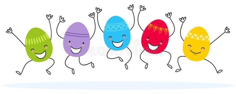 Ilustração simples de cinco ovos da páscoa lisos coloridos do projeto, salto do vetor dos personagens de banda desenhada ilustração royalty free