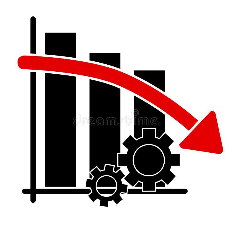 Ilustração simples do ícone, caindo para baixo progresso do negócio da produtividade ilustração royalty free